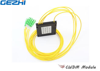 Yellow 1x4 CWDM Mux Demux ABS type for Line Monitoring , 1270~1610nm Wavelength